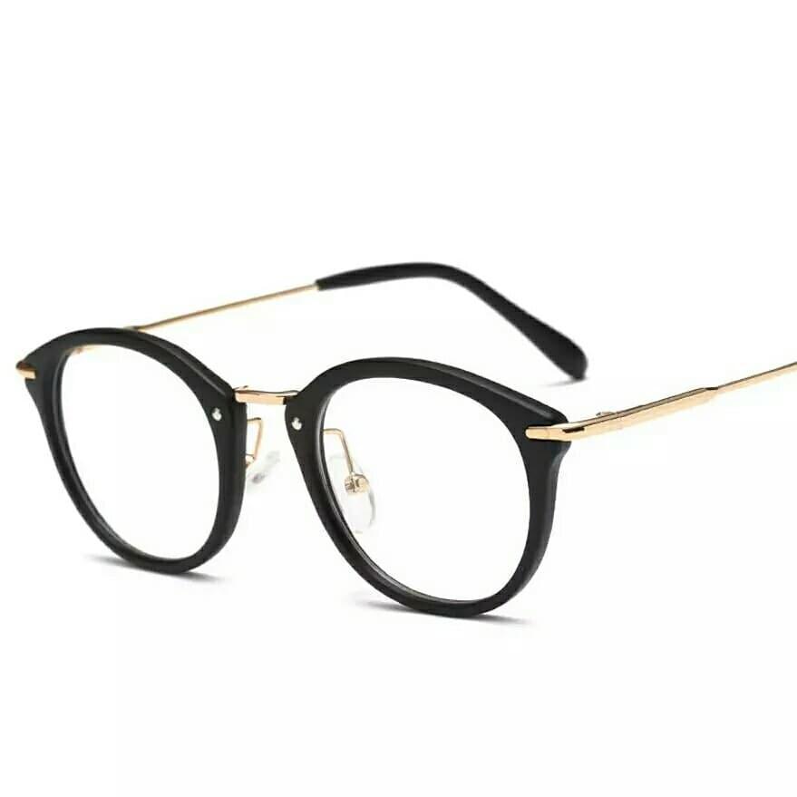 Очки с прозрачной линзой с тонкими металлическими дужкам Чёрный