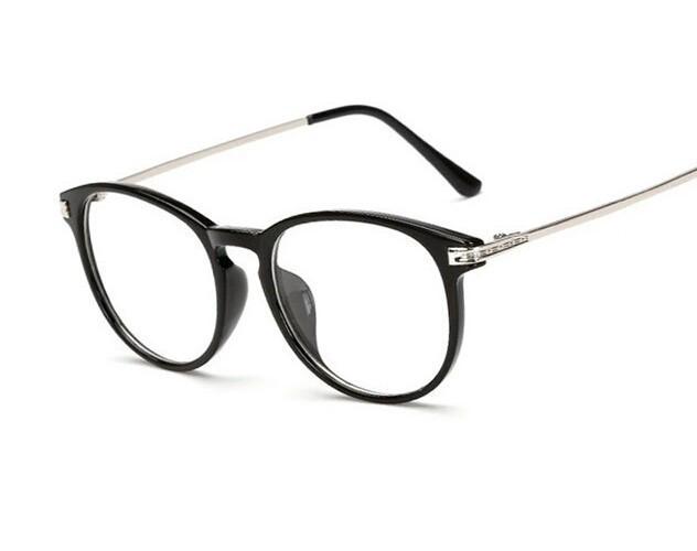 Имиджевые очки с прозрачной линзой с тонкими металлическими дужками Чёрный глянец+серебро