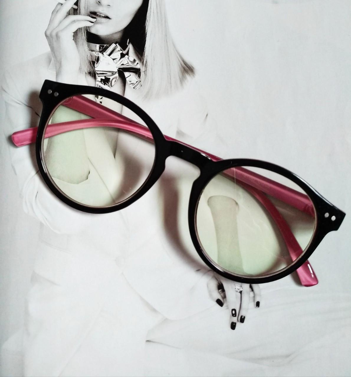 Имиджевые очки  круглые с  прозрачной линзой Чёрный+розовый