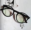 Имиджевые очки  круглые с  прозрачной линзой Чёрный+розовый, фото 2