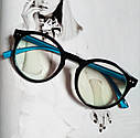 Имиджевые очки  круглые с  прозрачной линзой Чёрный+розовый, фото 3