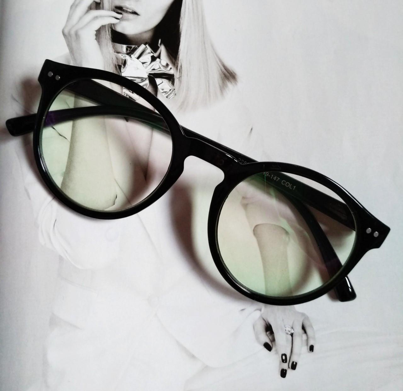 Имиджевые очки  круглые с  прозрачной линзой Чёрный