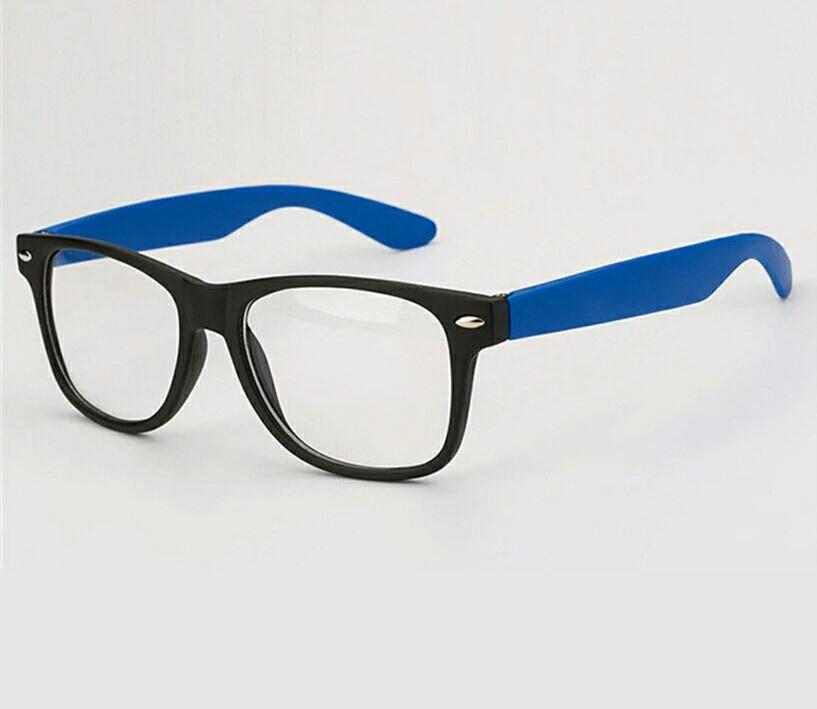 Имиджевые очки с прозрачной линзой с цветными дужками Синий