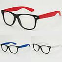Имиджевые очки с прозрачной линзой с цветными дужками Синий, фото 2