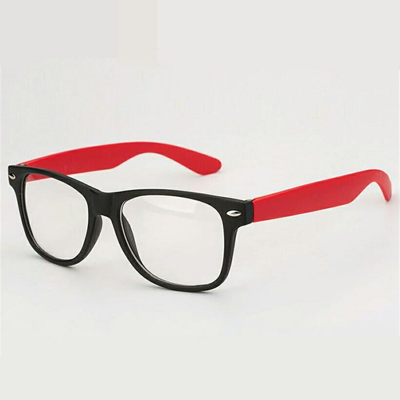 Имиджевые очки с прозрачной линзой с цветными дужками Красный