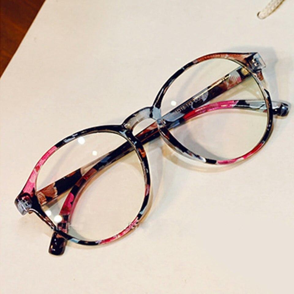 Имиджевые очки  большие круглые с анти бликом цветочный принт