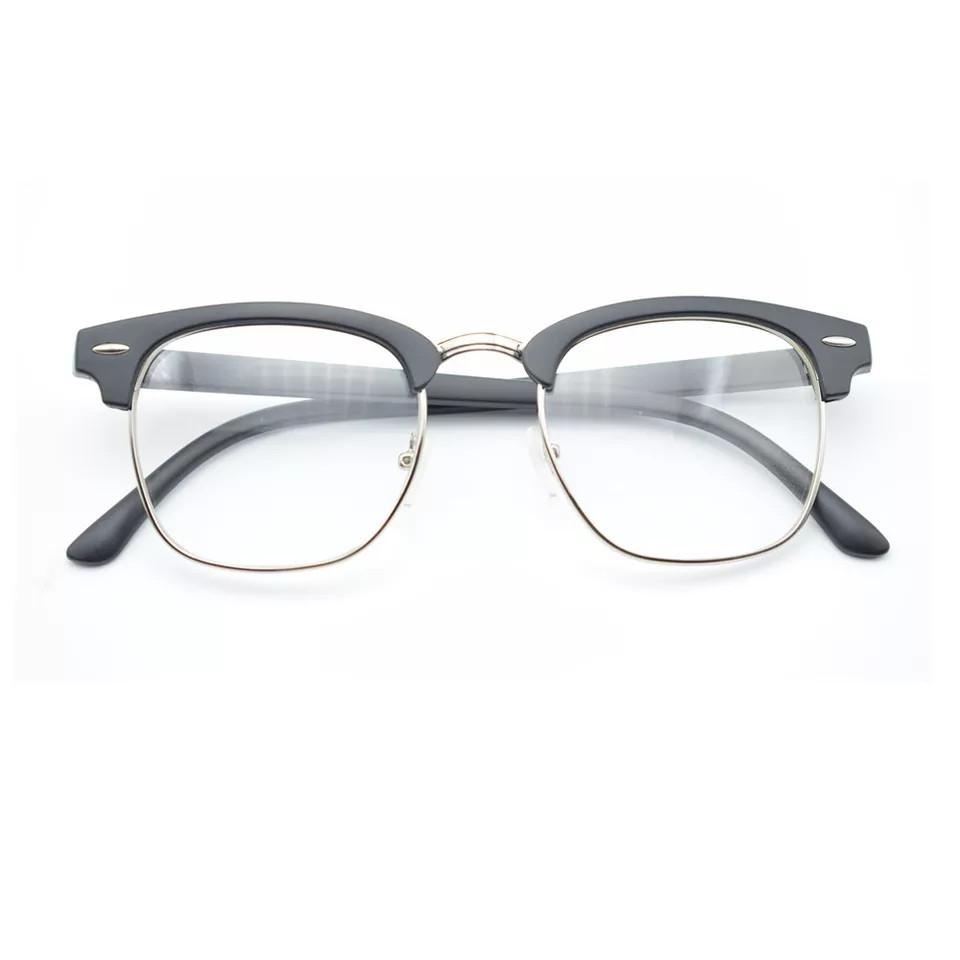 Имиджевые очки с прозрачной линзой в стиле клабмастер Чёрный