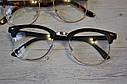 Имиджевые очки с прозрачной линзой в стиле клабмастер Леопард, фото 3