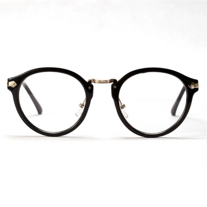 Имиджевые очки с  прозрачной линзой круглые с металлическими дужками №2 Чёрный