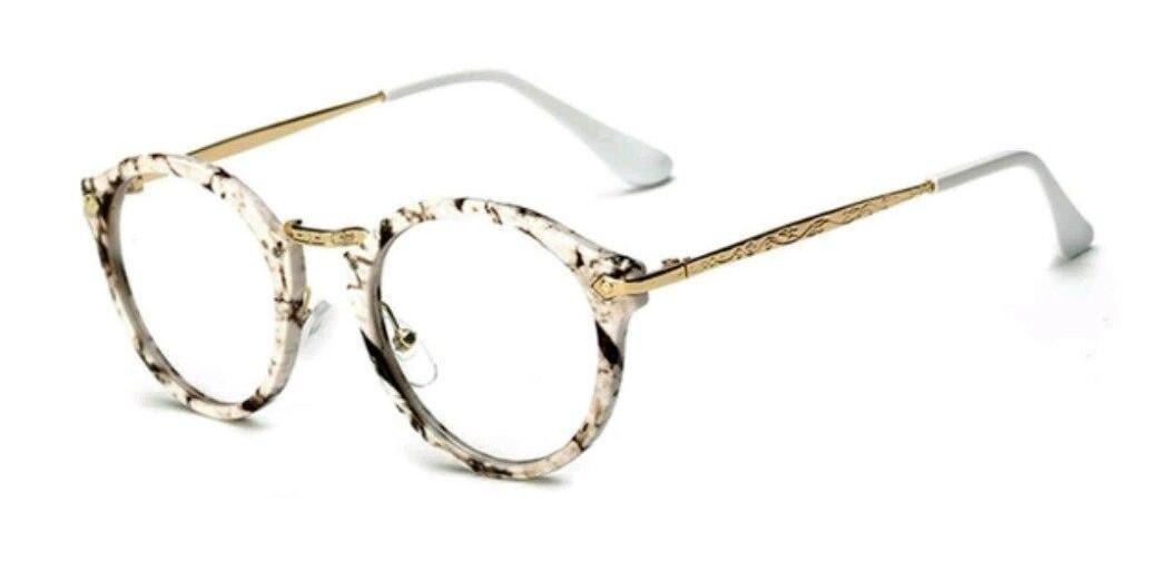 Имиджевые очки с  прозрачной линзой круглые с металлическими дужками №2 Мрамор