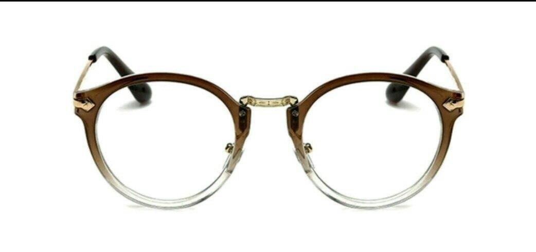 Имиджевые очки с  прозрачной линзой круглые с металлическими дужками №2 с градиентом