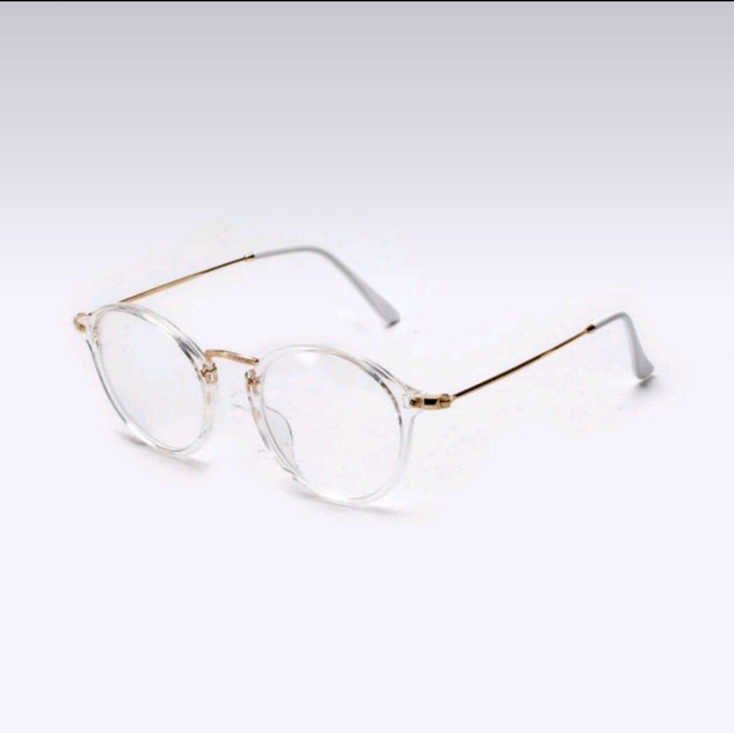 Имиджевые очки с  прозрачной линзой круглые с металлическими дужками Прозрачный