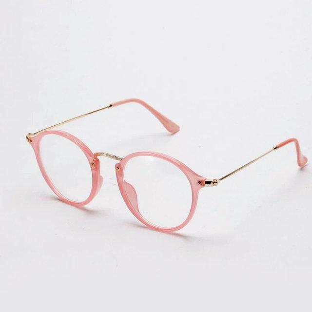 Имиджевые очки с  прозрачной линзой круглые с металлическими дужками Розовый