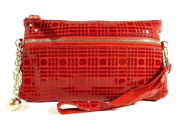 Кошелек-клатч женский кожаный красный 614