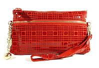 Кошелек-клатч женский кожаный красный