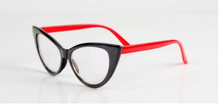 Очки имиджевые кошка классика, с прозрачной линзой Чёрный  с красным