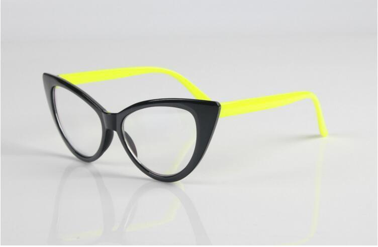 Очки имиджевые кошка классика, с прозрачной линзой Чёрный  с жёлтым