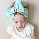 Повязка на голову для девочки солоха большой бант Голубая в горох, фото 10