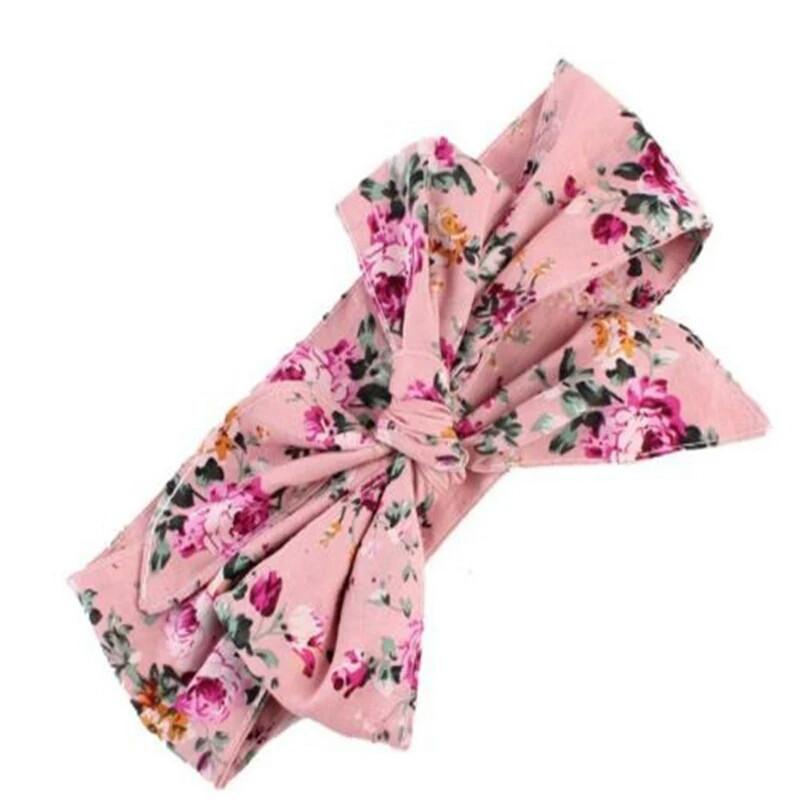 Повязка на голову для девочки  большой бант Розовая в цветах