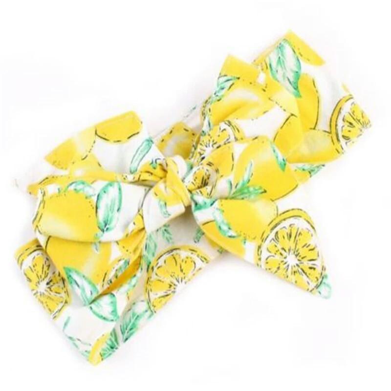 Повязка на голову для девочки  большой бант Жёлтая лимон