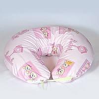 Подушка для кормления двойни. Мишки в домике, розовые