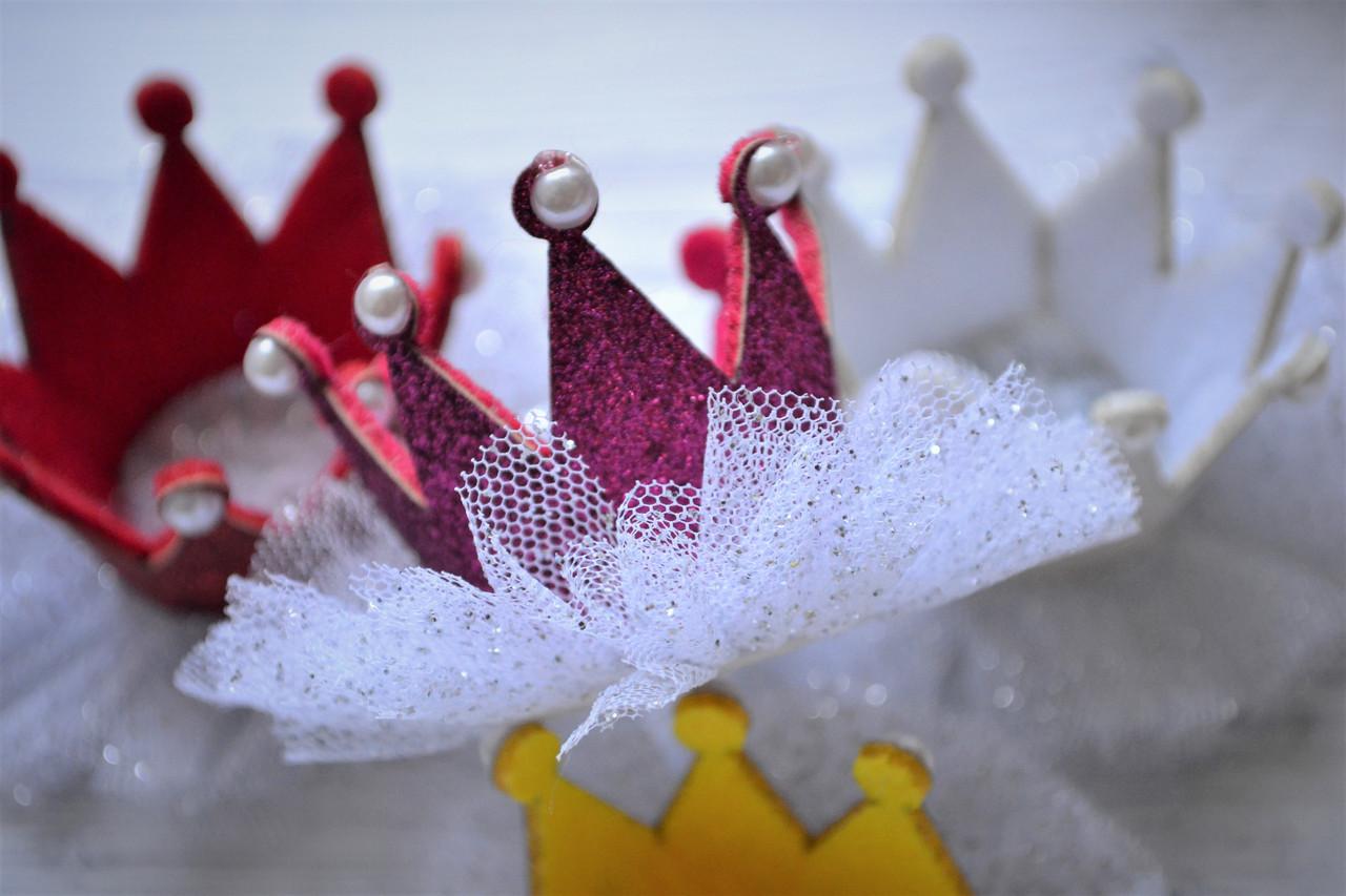 Корона на голову  детская на заколке 4 вида Малиновый