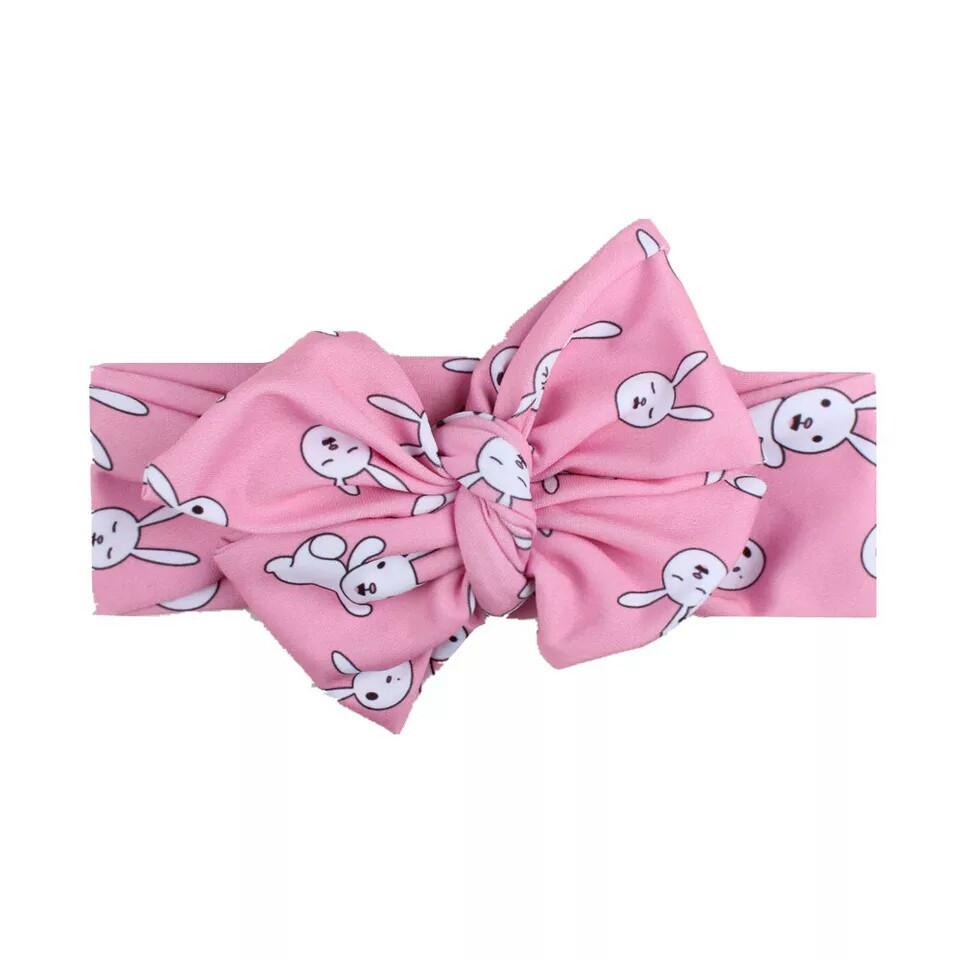 Повязка на голову для девочки бантик с рисунком Розовый зайчик