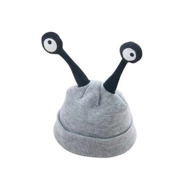 Детские шапочки улитка с глазами Серый
