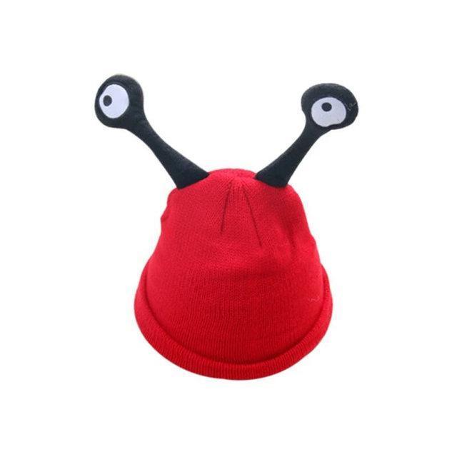 Детские шапочки улитка с глазами Красный
