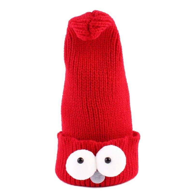 Детские шапочки гномик  с глазами Красный