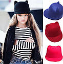 Детская фетровая шапка с козырьком и ушками Жокейка Малиновый, фото 4
