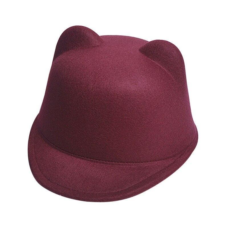 Детская фетровая шапка с козырьком и ушками Жокейка Бордовый