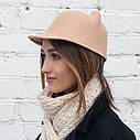 Женская  фетровая шапка с козырьком и ушками Жокейка Бежевый, фото 8