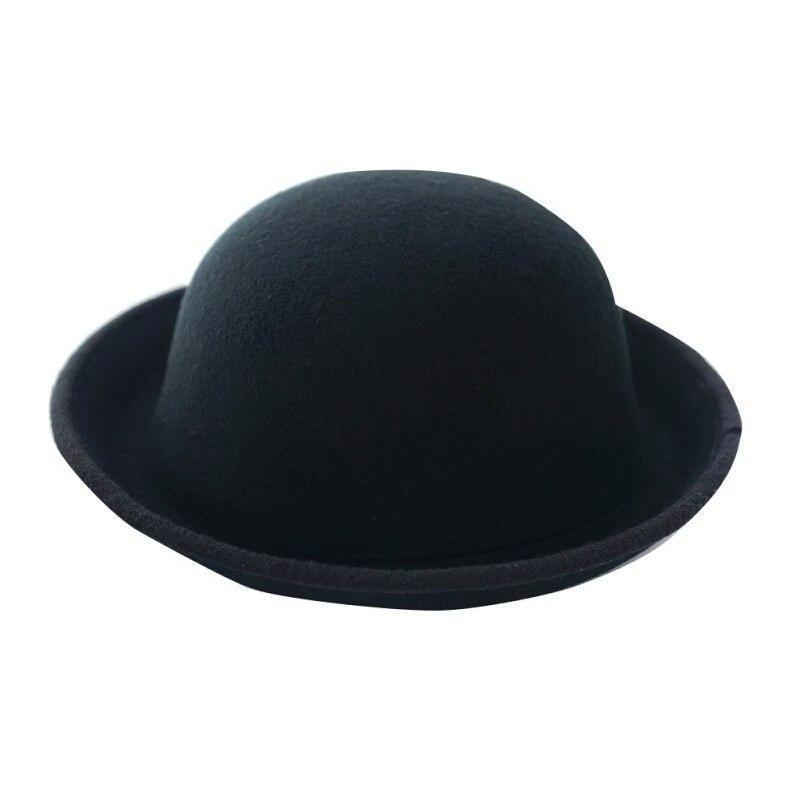 """Женская  фетровая шапка с полями """"котелок""""  Черный"""