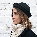 """Женская  фетровая шапка с полями """"котелок""""  Черный, фото 2"""
