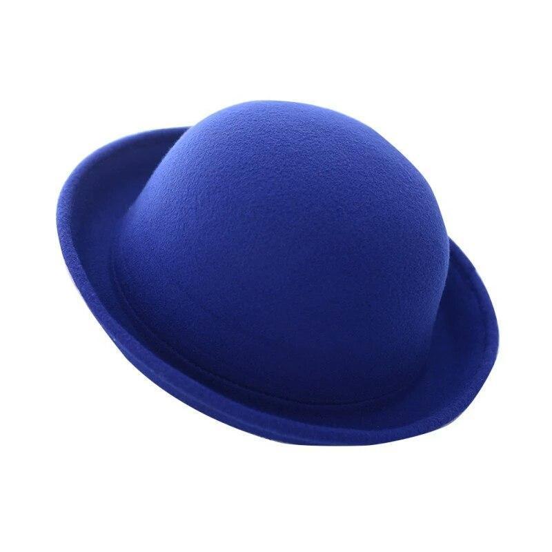 """Женская  фетровая шапка с полями """"котелок""""  Синий"""