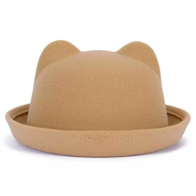 Женская  фетровая шапка с ушками Бежевый
