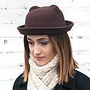Женская  фетровая шапка с ушками Бежевый, фото 6