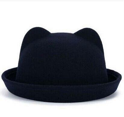 Женская  фетровая шапка с ушками Черный