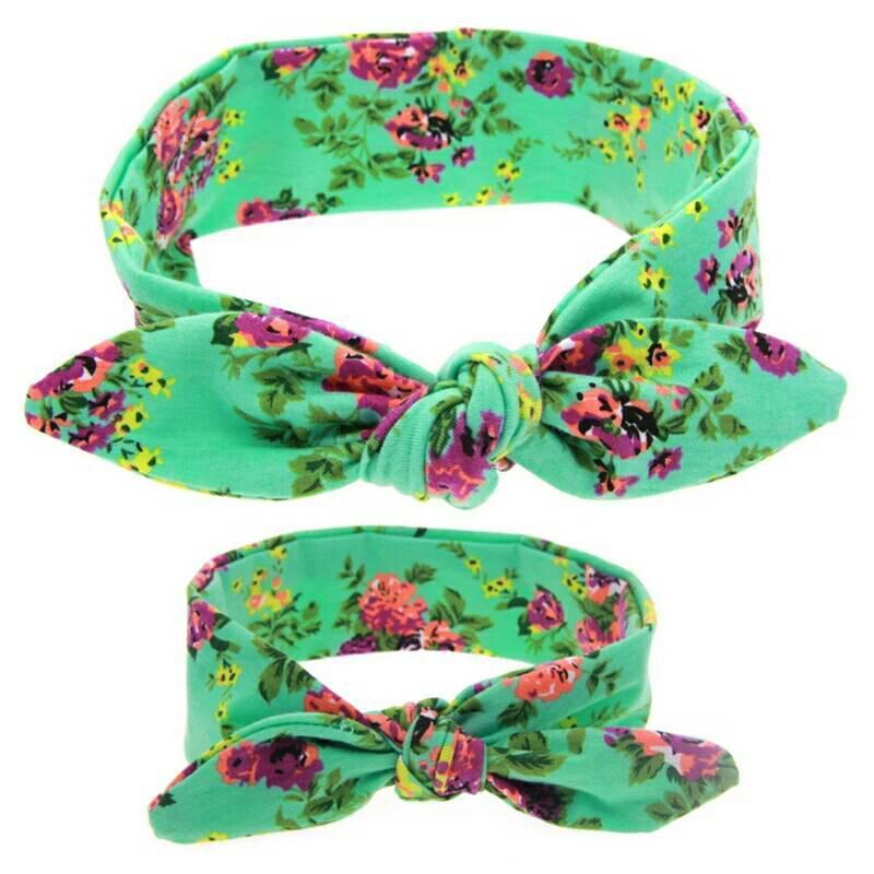 Повязка на голову  мама+дочка (набор 2шт) цветы Зелёный
