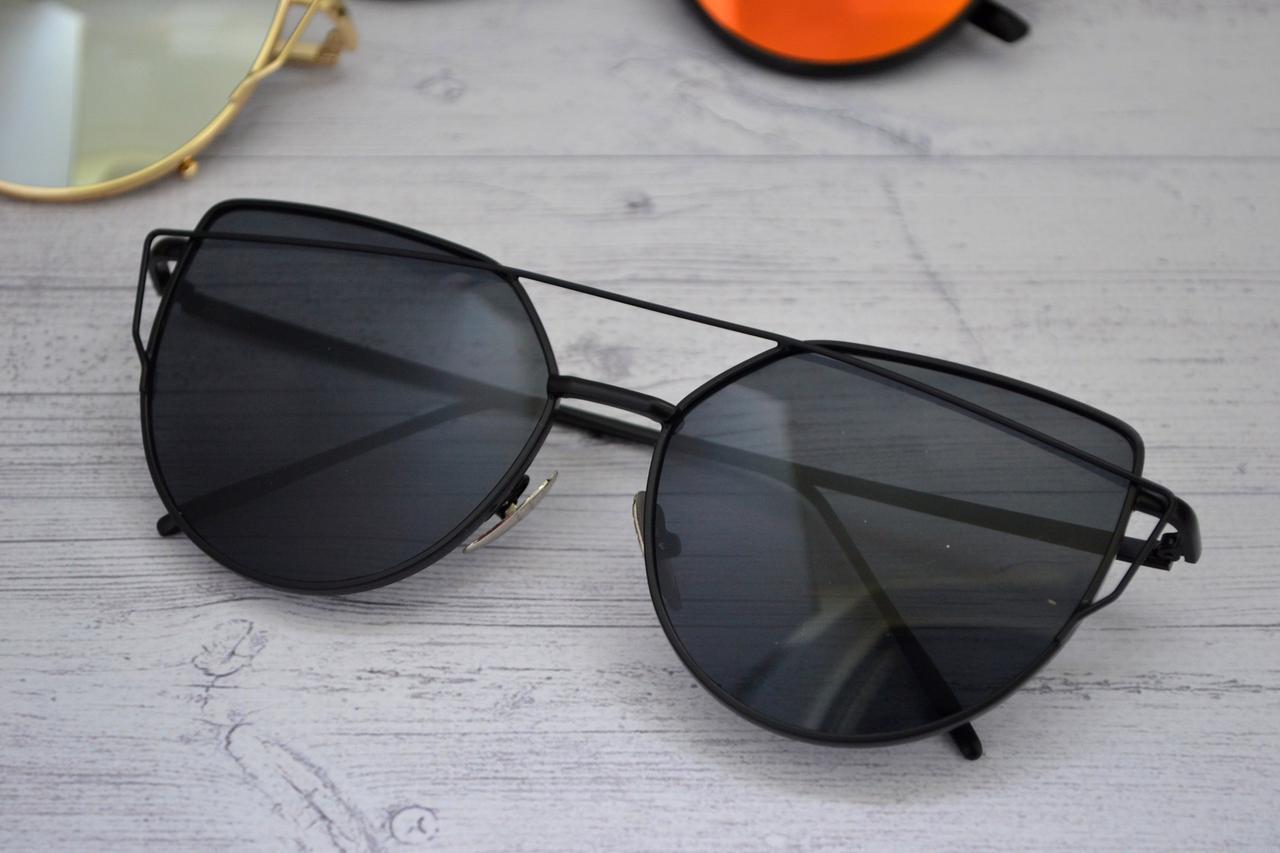 Солнцезащитные очки кошачий глаз зеркальные Диор Чёрный