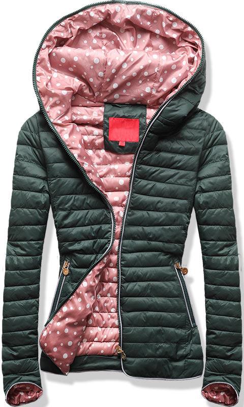 Женская демисезонная куртка с капюшоном Тёмно-зеленый