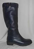 Синие женские зимние сапоги из натуральной кожи на низком ходу с замшевым ремешком