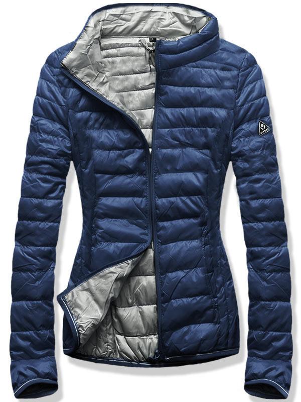 Женская осенне-весенняя демисезонная куртка  без капюшона Синий