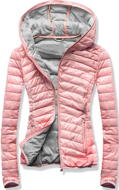 Женская стёганая осенне-весенняя демисезонная куртка  Розовый