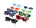 Треугольные очки солнцезащитные  кошачий глаз Чёрный+красный, фото 5