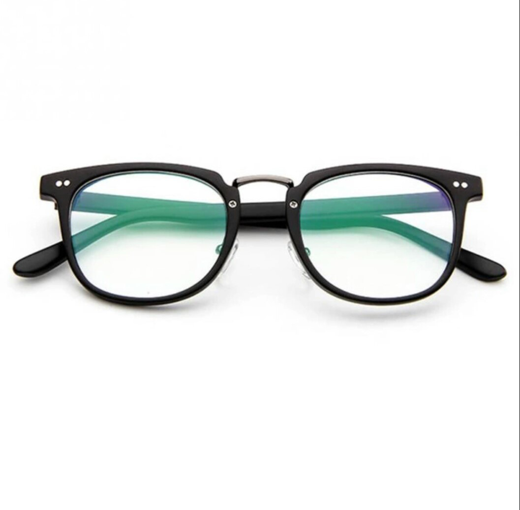 Чёрные имиджевые очки с прозрачной линзой с анти бликом Уценка