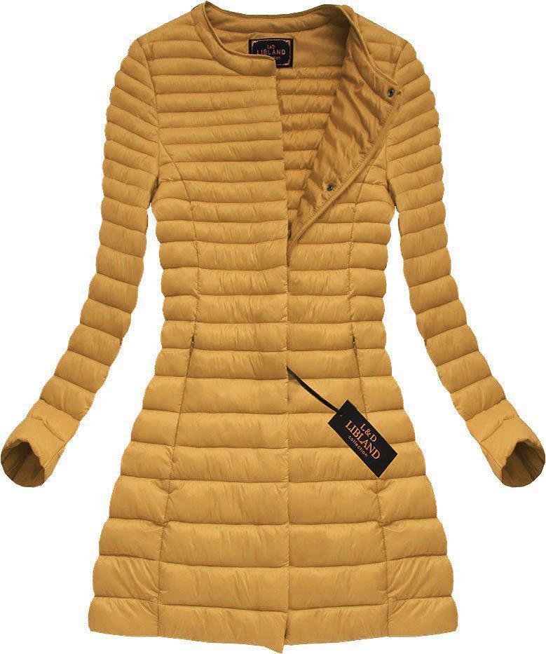 Куртка женская демисезонная длинная стёганая Жёлтый