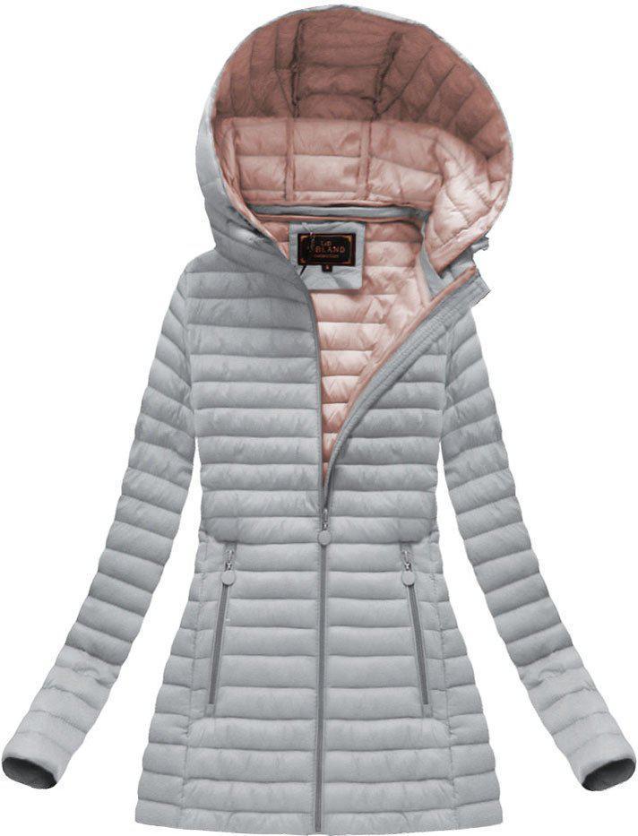 Удлиненная стёганая осенне-весенняя куртка с капюшоном Серый