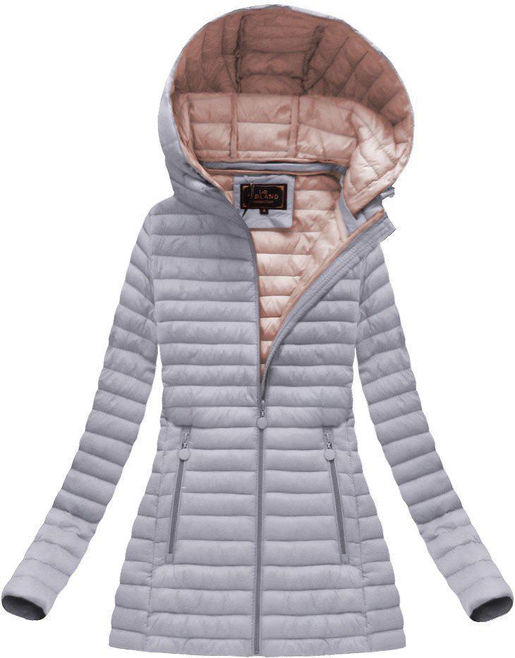 Удлиненная стёганая осенне-весенняя куртка с капюшоном Серый 1